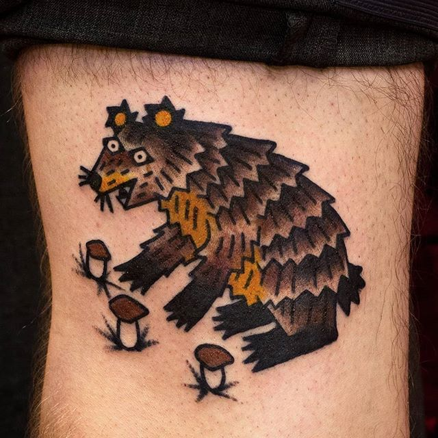 A bear tattoo from walk-in day