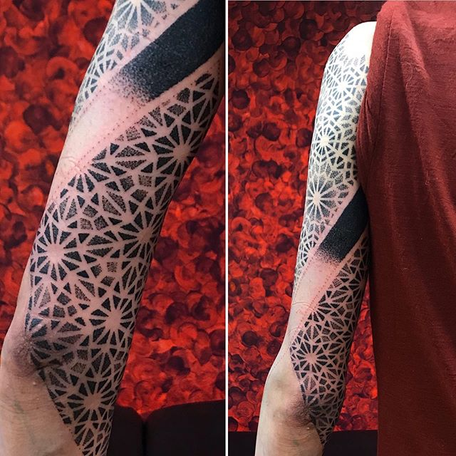 Sleeve in progress. Top healed, black + bottom fresh! mattesaaritattoo@gmail.com