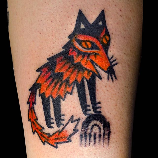 A fox from @polaris.tattoo birthday walk-in